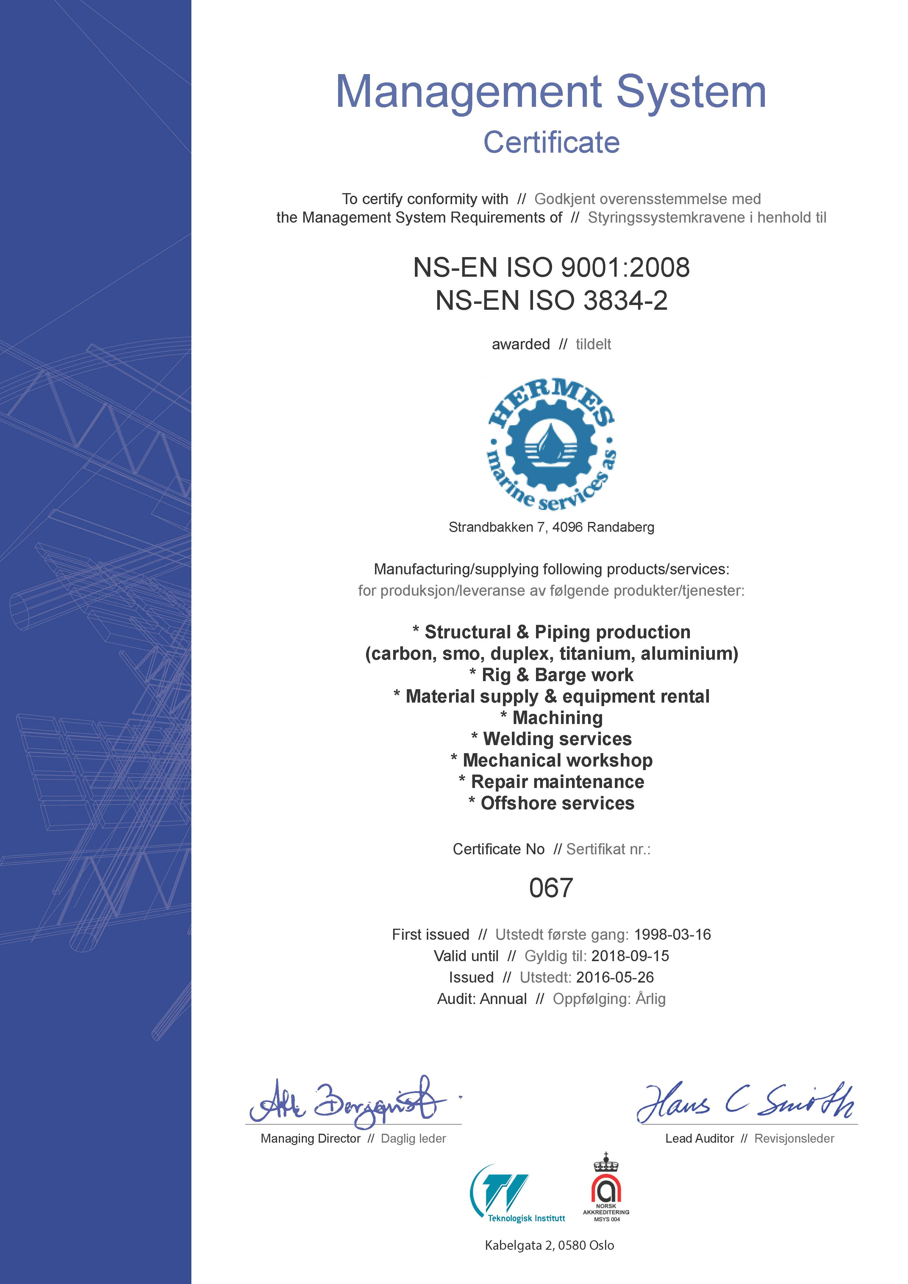 ISO 9001 2008 - Hermes Marine Services AS